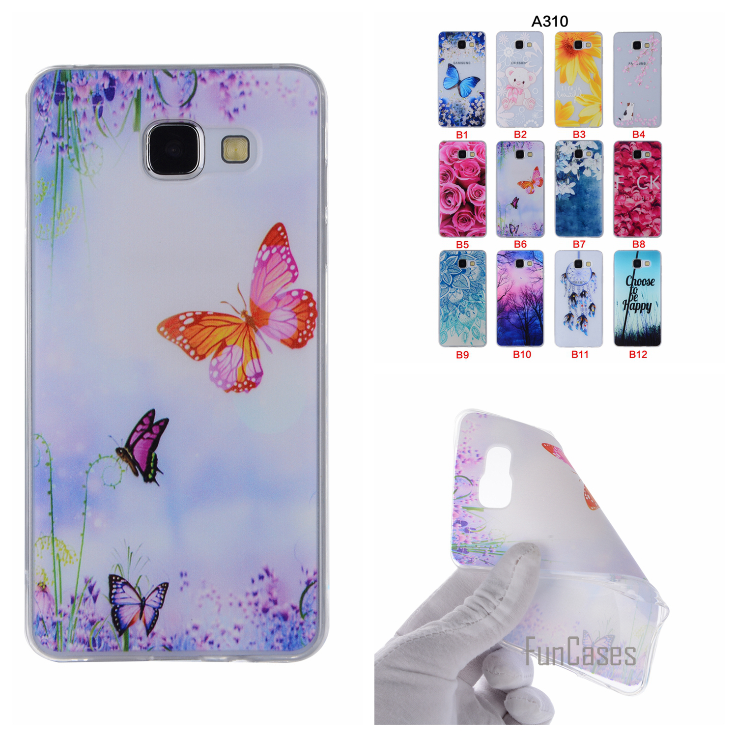 Cartoon Flower Tree Painted Back Cover Silicon Gel Soft TPU Mobile Phone Case For Samsung Galaxy A310 coque A3 2016 A310 capinha