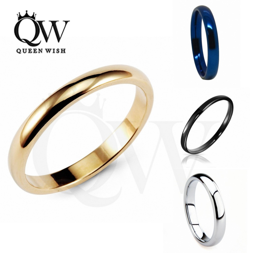 Queenwish 3mm White Black Gold Blue Tungsten Carbide Polished Classic Wedding Ring Band Couples Promise Rings