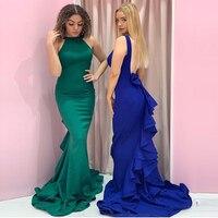 Длинное вечернее платье с русалочкой темно зеленое Королевское синее женское Формальное вечернее платье для вечеринки с коротким шлейфом