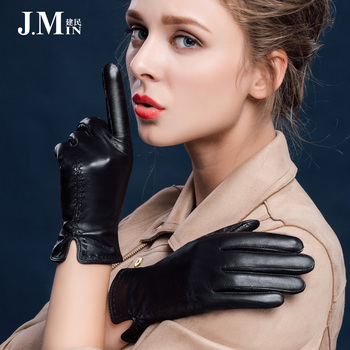 BOOUNI Genuine Leather Women Gloves Autumn Winter Plus Velvet Fashion Elegant Lady Sheepskin Glove For Driving Five Finger NW631