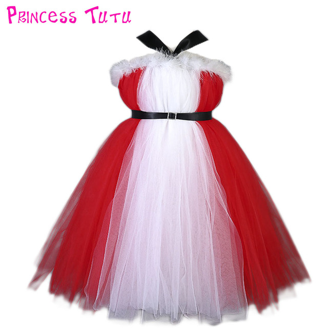 d74f5b7a03 Christmas Halter Girl Tutu Dress With Sash Red Color Children Winter  Feather New Year Party Tutu Dresses For Photograph 1-10 Y