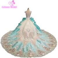 Luxury Hollow Lace Ball Gown Wedding Dress Blue Off Shoulder Princess Arabic Muslim Arab Bride Bridal Dress Gown Weddingdress