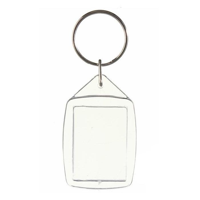 50x Klar Acryl Kunststoff Leere Schlüsselanhänger Einsatz Passport Foto Keychain Keyfob