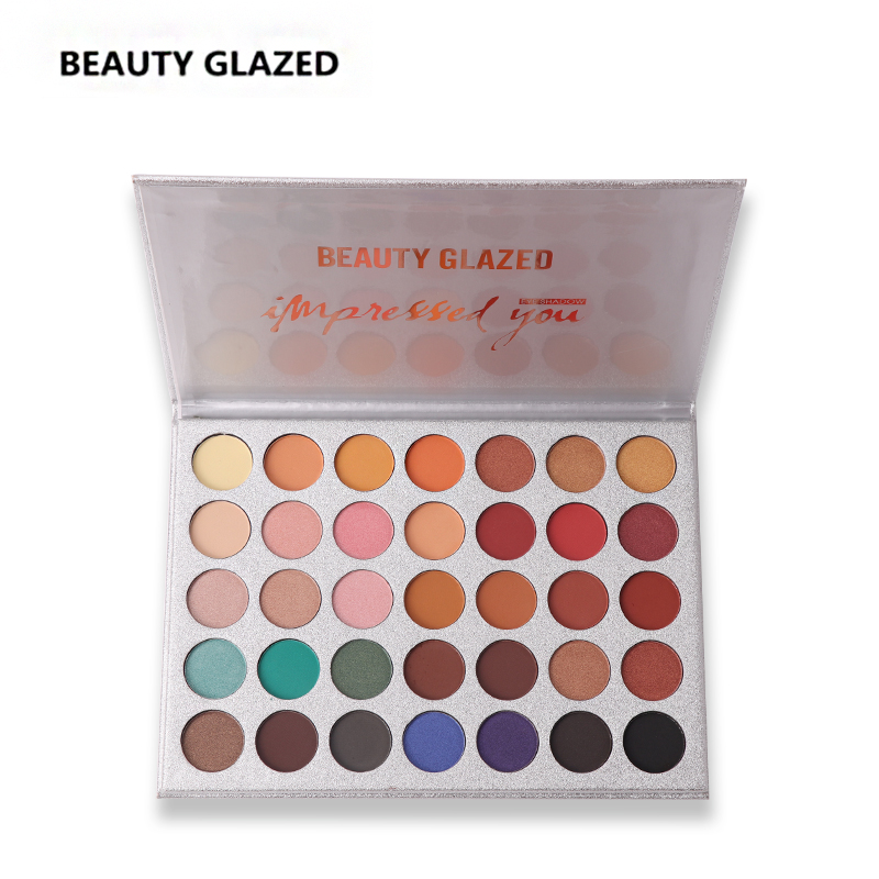 BEAUTY GLAZED Makeup eyeshadow Palette Matte Shimmer Eye shadow Luminous Long-lasting Natural Shimmer Cosmetics 35 Colors