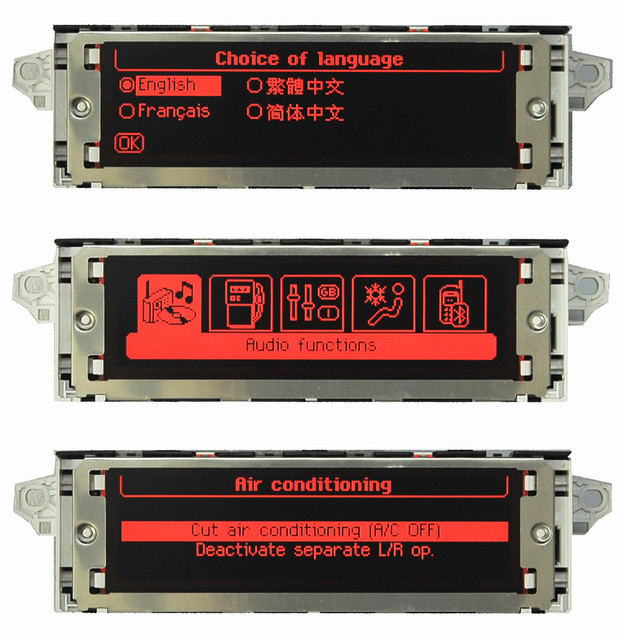 Rojo pantalla Original USB Dual-zona aire Bluetooth monitor 12 pin para Peugeot 307 de 407 de 408 citroen c4 C5