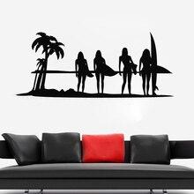 SunSet Ocean Surf Girls Wall Sticker Sea Beach Decoration Summer Room Poster Mural Art Design Ornament W211