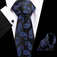Luxury Brand 2019 Blue Paisley Mens Tie Hanky Cufflinks Sets Ties for Wedding Party Groom Fashion Plain Neck