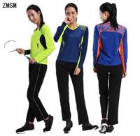 ZMSM Long sleeves Women's Tennis Shirts Training pants Badminton Table Tennis Jerseys Breathable Gym T Shirt Sports suits AF108