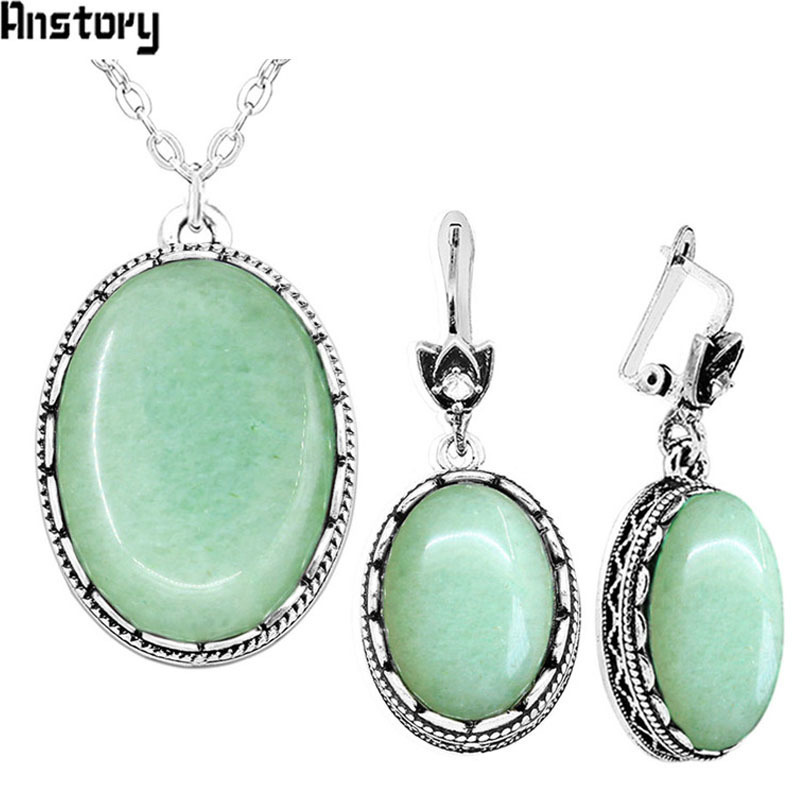 Oval Natural Stone Jewelry Set Choker Necklace Earrings For Women Stainless Steel Chain Hollow Flower Pendant Fashion Jewelry chic rhinestone faux turquoise oval hollow out necklace for women