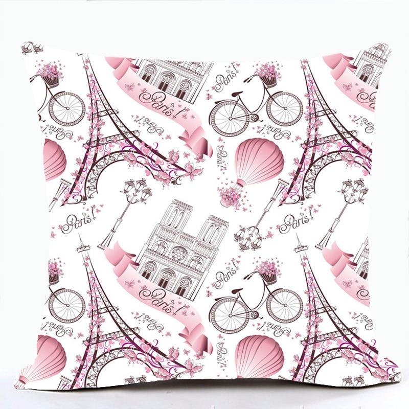Pink Lolita Style Romantic France Eiffel Tower Paris Sofa Cushion Covers For Car Chair Throw Pillow Case Housse De Coussin(China)