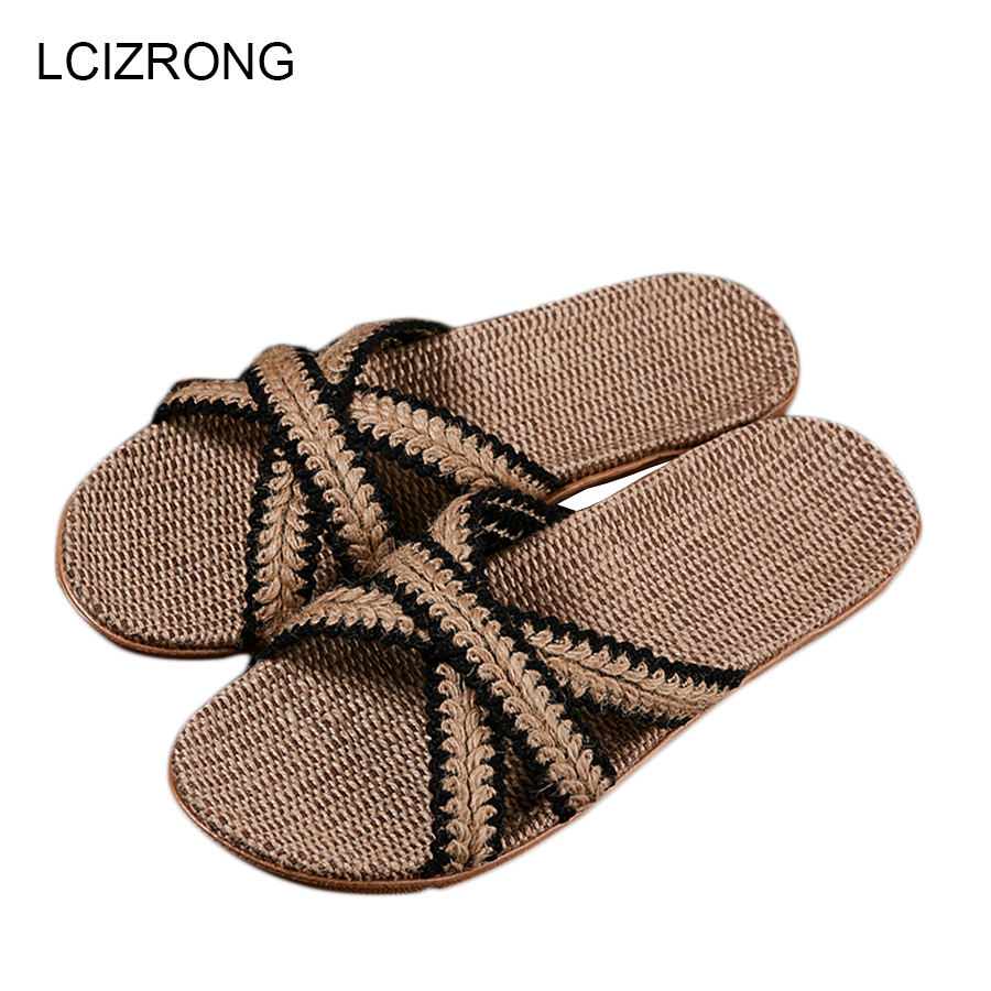LCIZRONG Summer 21 Colors Flax Home Slippers Men 35-45 Size Beach Floor Comfortable Flat Slippers Unisex Bedroom Flip Flops