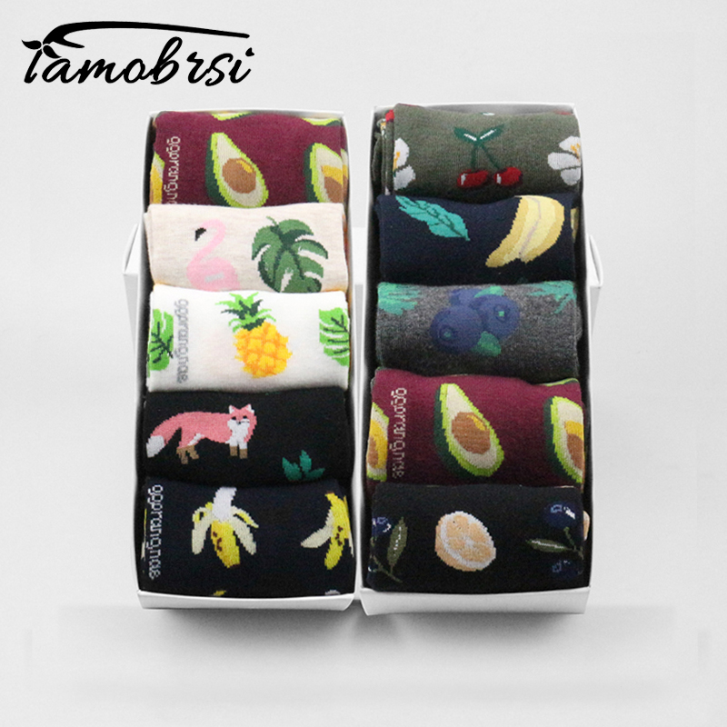 Pineapple Fruit Fall Winter Funny Short Pop Fox Socks Women Flamingo Banana Avocado Socks Female Harajuku Cotton Unisex Men