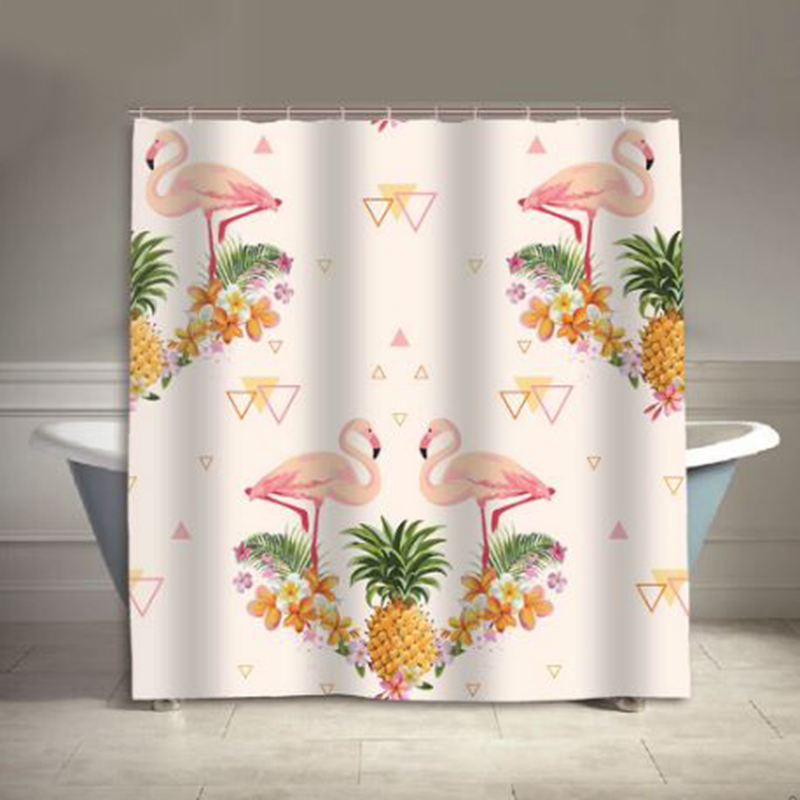 High Quality Flamingos Eco-friendly Polyester waterproof bathroom shower curtain Europe Style Bath Curtain With Hooks