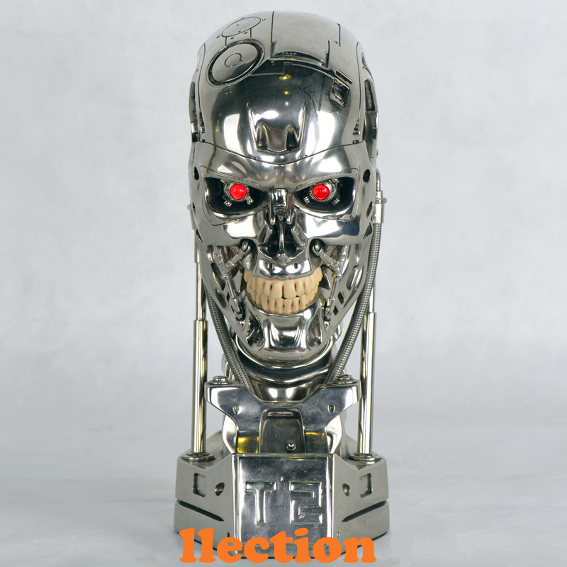 Hot NEW 1:1 Terminator T800 T2 Skull Endoskeleton Lift-Size Bust Figure Resin Replica LED EYE Best Quality WU562 gmasking terminator 2 t800 endoskeleton skull head statue scale 1 2 replica