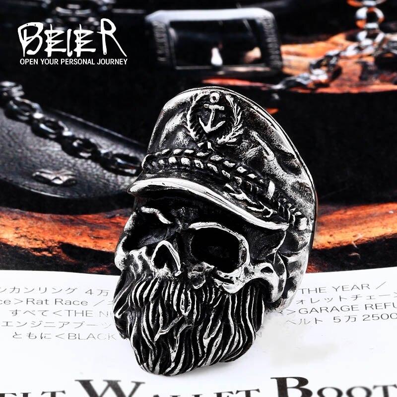 Мужское кольцо с изображением викинга Beier, кольцо в стиле ретро с бородатым черепом, кольцо из нержавеющей стали 316l