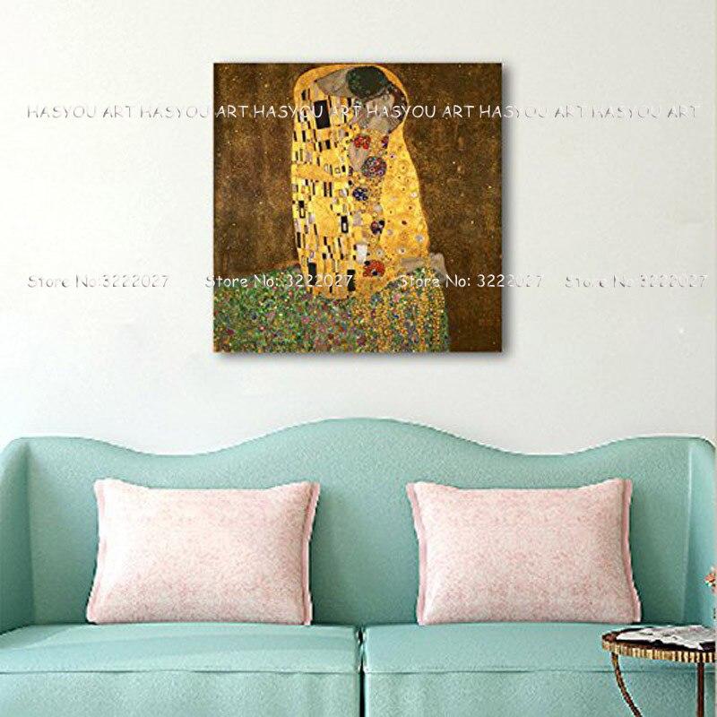Leinwand Malerei Palette Klimt Kuss Liebe Gesicht öl malerei Poster wand kunst bilder für wohnzimmer wohnkultur caudros decoracion - 4