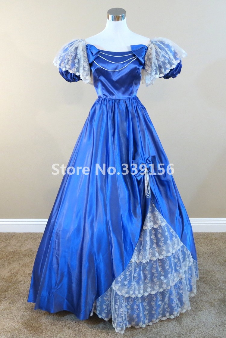 Marie Antoinette Ball Gown Royal Blue Dress Gothic Victorian Princess Dress Carnival Movie Theme Gown