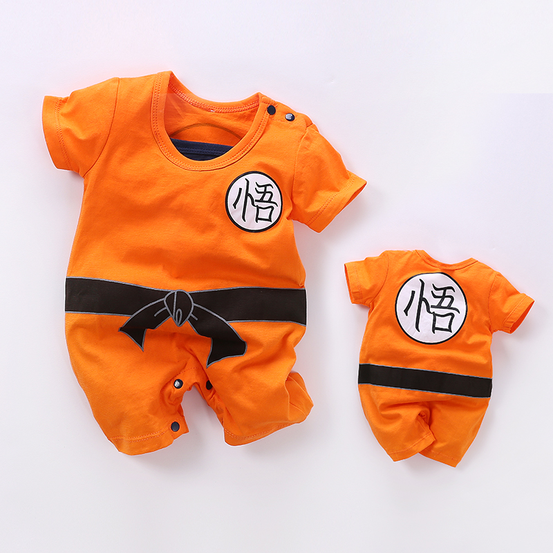 YiErYing Baby Clothes 2018 New Newborn Rompers Dragon Ball Summer Cartoon Print Short Sleeve Cotton Baby jumpsuit Costume dinstry 2018 new born baby clothes bird print baby jumpsuit summer baby rompers baby cotton dress