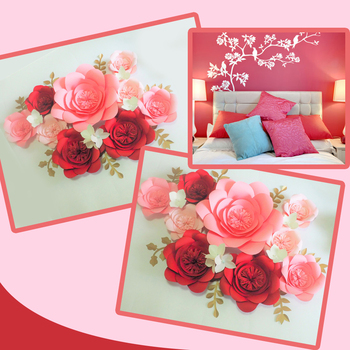 DIY Giant Paper Flowers 9PCS + Hydrangea flowers 6pcs + Leaves 7pcs For Wedding & Event Backdrop Bedroom Video Tutorials
