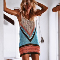 Crochet Beach Cover Up 2018 Knit Swimsuit Summer Beach Hollow Out Clothing Bikini Cover Up Brand Patchwork Color Beach Wear