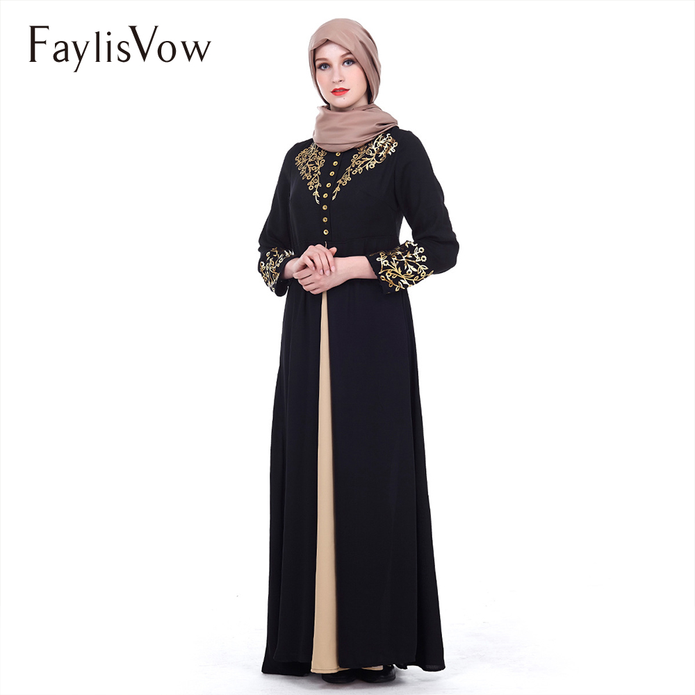 US $21 17 32% OFF|Abaya Dubai Muslim Dress Black Solid Gold Stamping  Printing Robe Kaftan Evening Long Sleeve Cardigan Jubah Maxi Dress Women-in