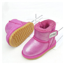 Suitable for autumn and winter warm childrens snow boots thick non-slip soft bottom Velcro 1-6 boys girls