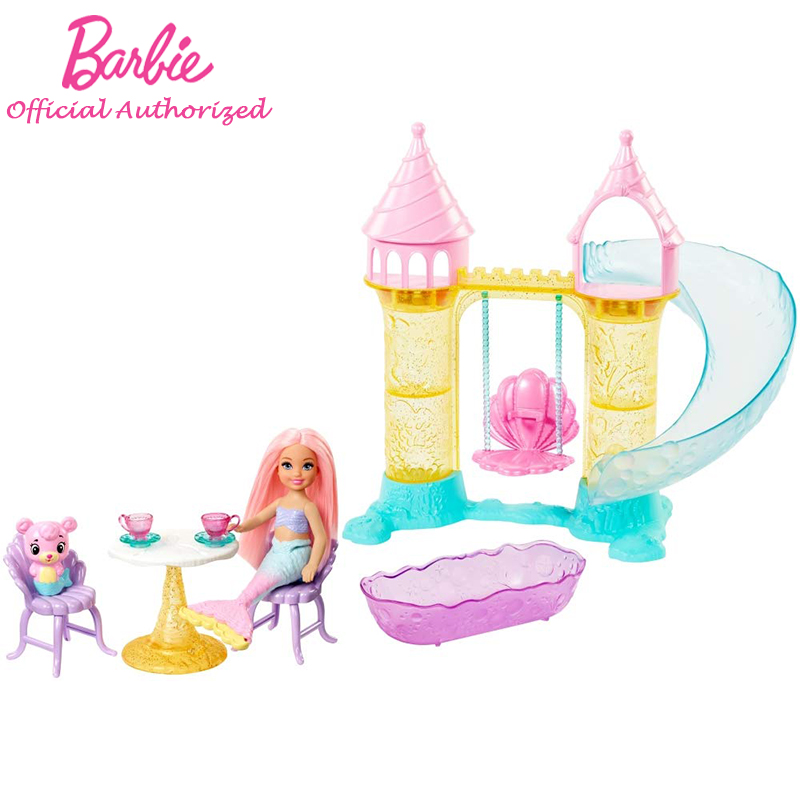 Barbie Dreamtopia Chelsea Mermaid Playground FXT20 Doll Toy Mini Barbie Girl Castle Slide Accessories Funny Gift For Children