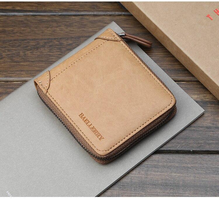 do cartão pequena carteira masculina de couro
