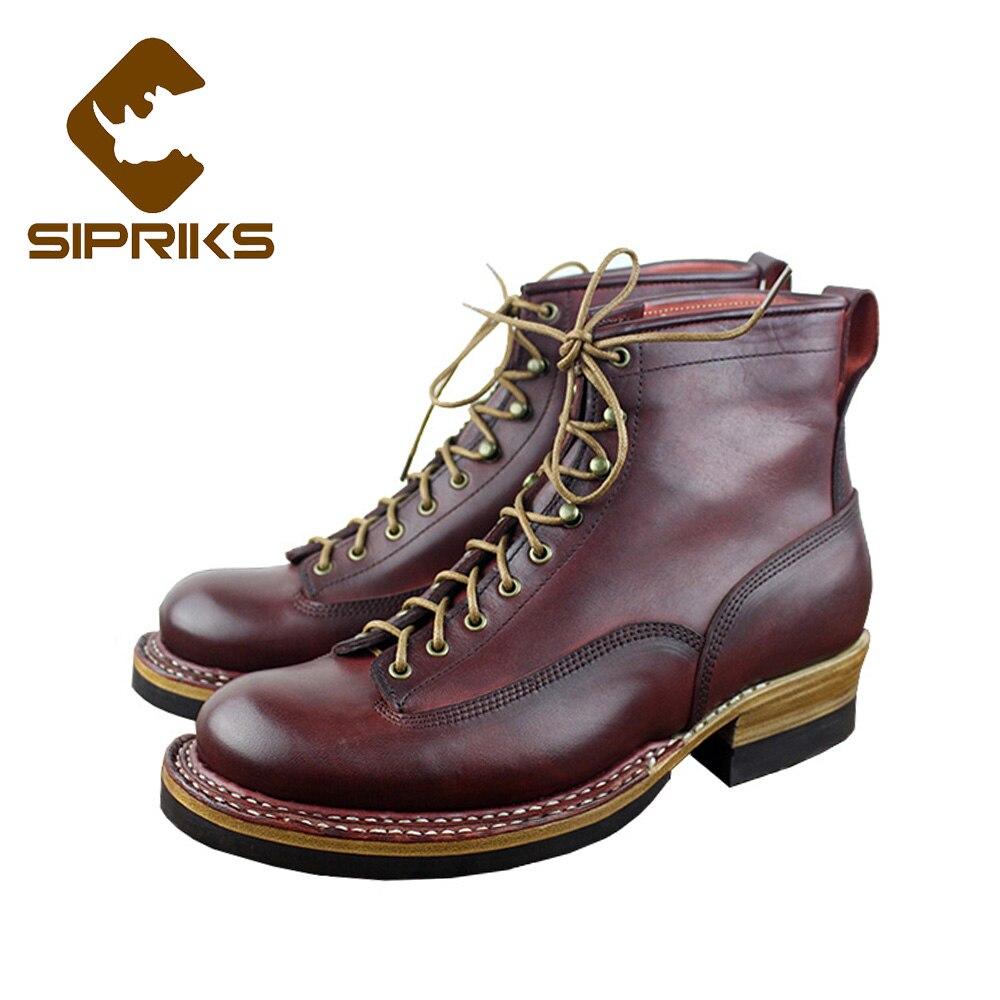 Sipriks norvégien cousu bottines italiennes personnalisé Goodyear Welted bottes pour hommes en cuir semelle avec des bottes à bout rond en caoutchouc épais