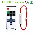 Mini RF Controlador de LED Monocromático Com Controle Remoto Sem Fio Mini Dimmer para 5050/3528 Led Strip Lights 5-24 V 12A