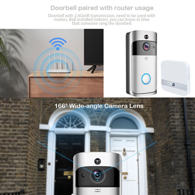 ZWN Smart Wireless Wifi Video Doorbell Intercom 720P Phone Call Door Bell Camera Infrared Remote Record Home Security Monitoring 4