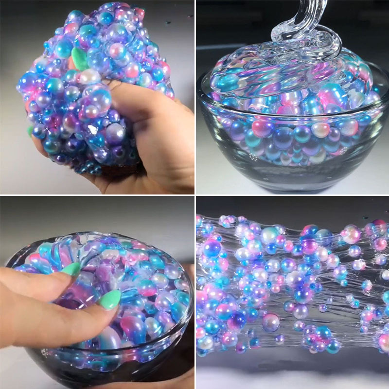 60ML Slime Colorful Beads Mermaid Crystal Mud Cotton DIY Slimes Dough Slime Charms Stress Relief Toy For Children Slime Gift