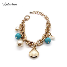 SANYU 2018 New Style Fashionable Copper Lobster Buckle Shell Pearl Decoration Temperament Charm Bracelet For Women BR-1573