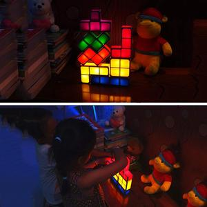 Image 5 - Светильник головоломка для тетрис «сделай сам», светодиодсветодиодный настольная лампа в стиле ретро, строительный блок, ночсветильник, игровая башня, красочная детская игрушка конструктор, 7 цветов