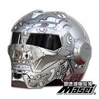 MASEI 610 IRONMAN Motorcycle Helmet Gray Terminator Casque Motocross Half Helmet Personality Open Face Helmet Trend