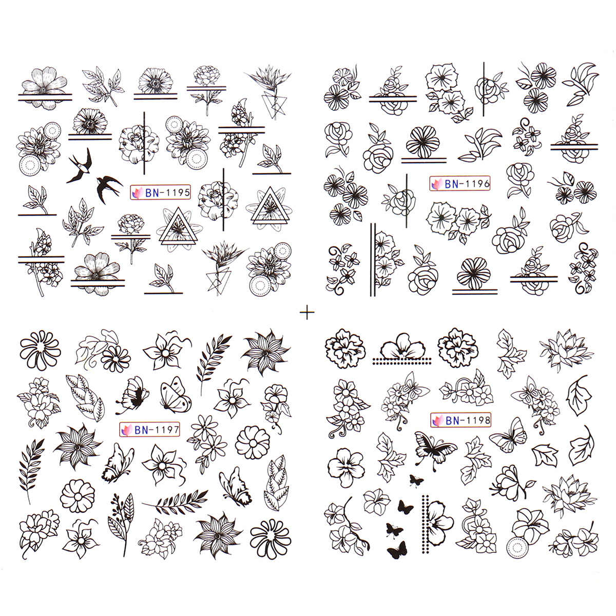 Monja 12Pcs เล็บดอกไม้ผีเสื้อสีดำสติกเกอร์ 3D DIY ลายน้ำเล็บสติ๊กเกอร์เล็บตกแต่ง