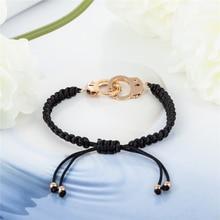 Handmade Braided Couple Bracelet Silver Handcuffs Bracelets For Women Men Lovers Valentine's Day Gift