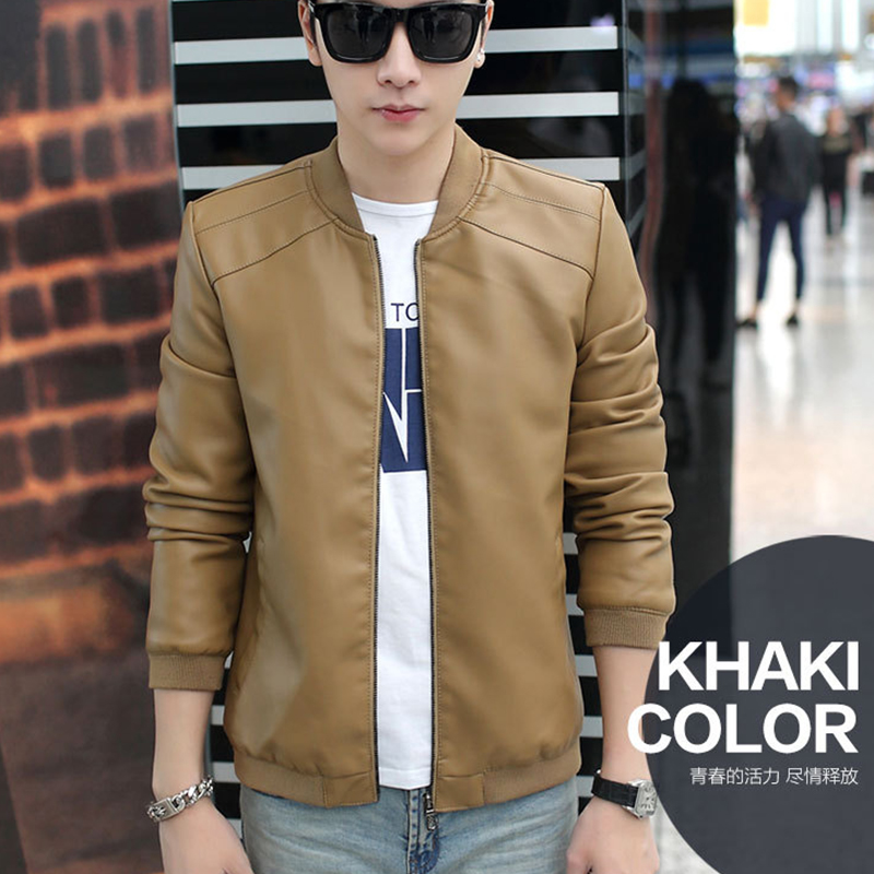 Spring autumn thin jacket baseball collar solid color Slim simple PU leather jacket male ...