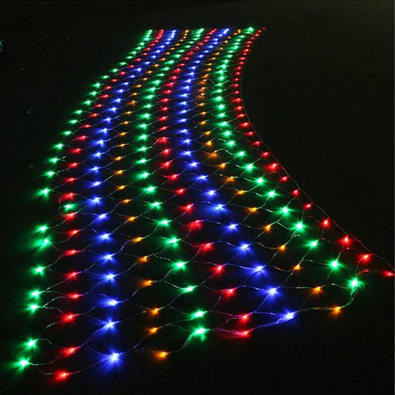 1.5mx1.5m Net Mesh String Lights EU 220V Plug Curtain 96LED New Year Christmas LED Lights Garden Xmas Wedding