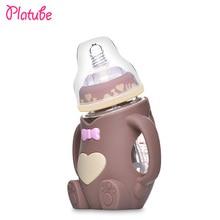 240ml Baby Silicone Milk Feeding Bottle Mamadeira Vidro BPA Free Safe Infant Juice Water Feeding Bottle cup Glass Nursing Feeder
