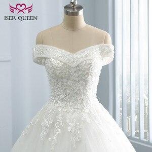 Image 3 - Bordado vintage uma linha de renda vestido de casamento boné manga v pescoço lantejoulas pérolas frisado plus size mariage vestido de casamento wx0109