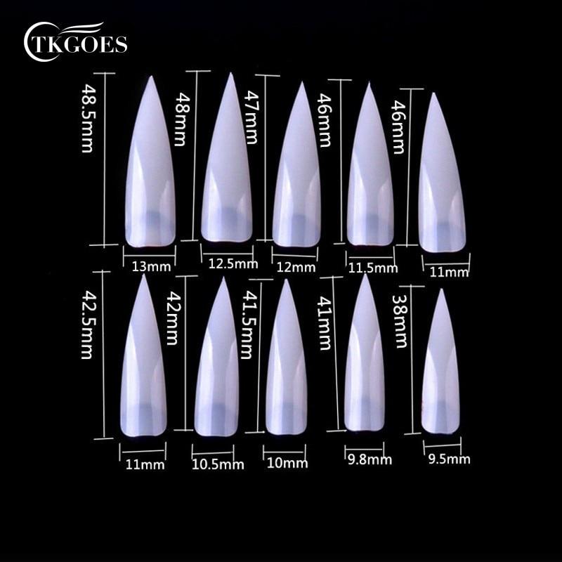 Online Shop TKGOES 500pcs/pack Acrylic Nails Salon Stiletto Pointed ...