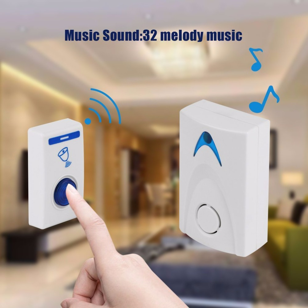 Wireless Door Bell 504D LED Chime Door Bell Doorbell & Wireles Remote Control 32 Tune Songs White Home Security Use Doorbell