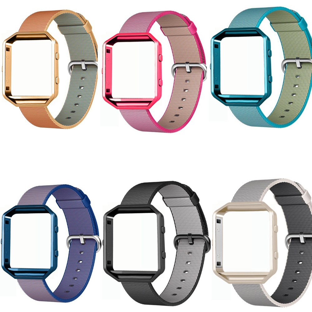 Sports Woven Nylon Watch Band + Colorful  Metal Frame 2 in 1 Watch Case  For Fitbit Blaze Activity Tracker Smart Watch Band crested stainless steel metal frame case cover shell for fitbit blaze replacement case activity tracker smart watch accessories