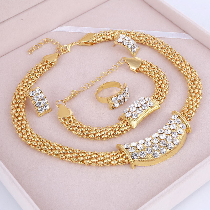 Party Accessories Wedding Gold Jewelry Sets For Women Pendant Statement African Beads Crystal Necklace Earrings Bracelet Rings(China)
