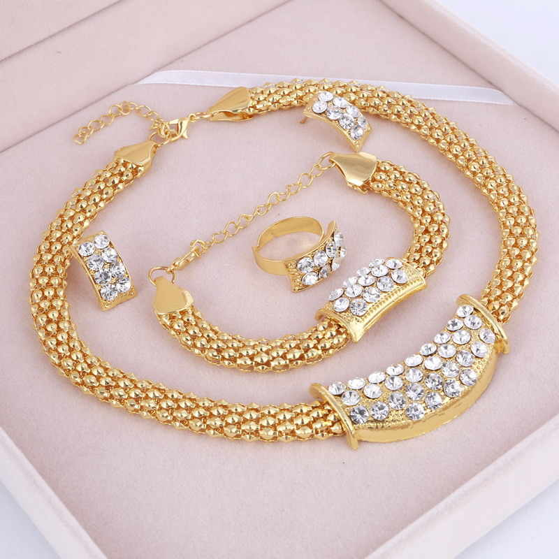 Party Accessories Wedding Gold Jewelry Sets For Women Pendant Statement African Beads Crystal Necklace Earrings Bracelet Rings