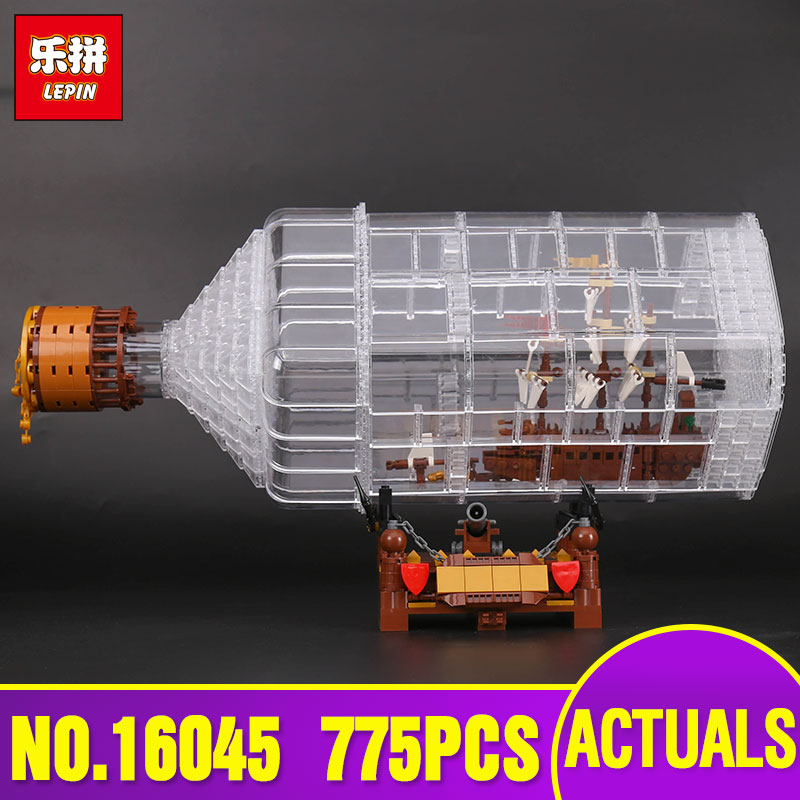 Lepin 16045 Genuine 775pcs Creative Series The Ship in the Bottle Set Building Blocks Bricks Toys Model for children day's Gifts lepin 16002 2791pcs modular pirate ship metal beard s sea cow building block bricks set toys legoinglys 70810 for children gifts