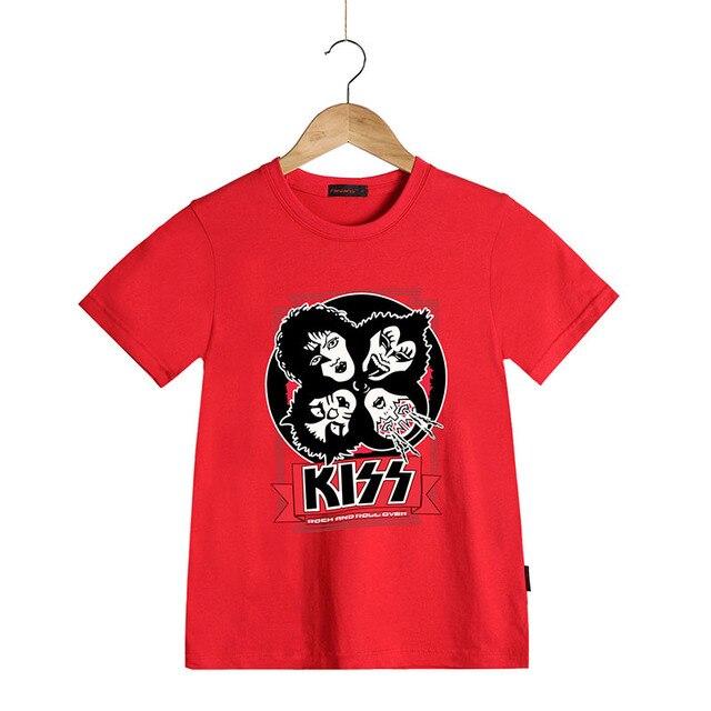 Camiseta de Rock de alta calidad KISS Kids de manga corta de verano para  niños camisetas 05ed20f47a008