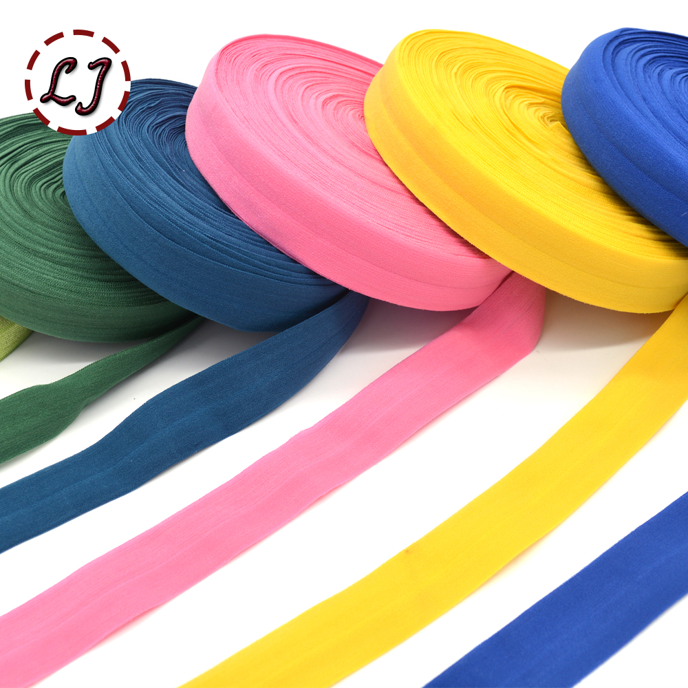 1''(25mm)  Hair Tie Making Foe Band Fold Over Elastic Ribbon Binding Tape Webbing Solid Headwear Handmade DIY Decoration Crafts