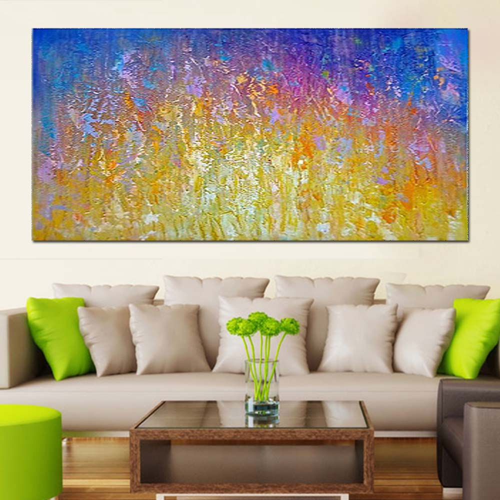 Hand Painted Abstract Thick Impasto Oil Painting on Canvas Yellow ...